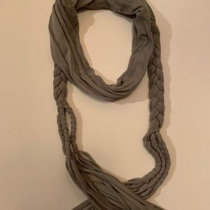 Gray Braided Long Scarf